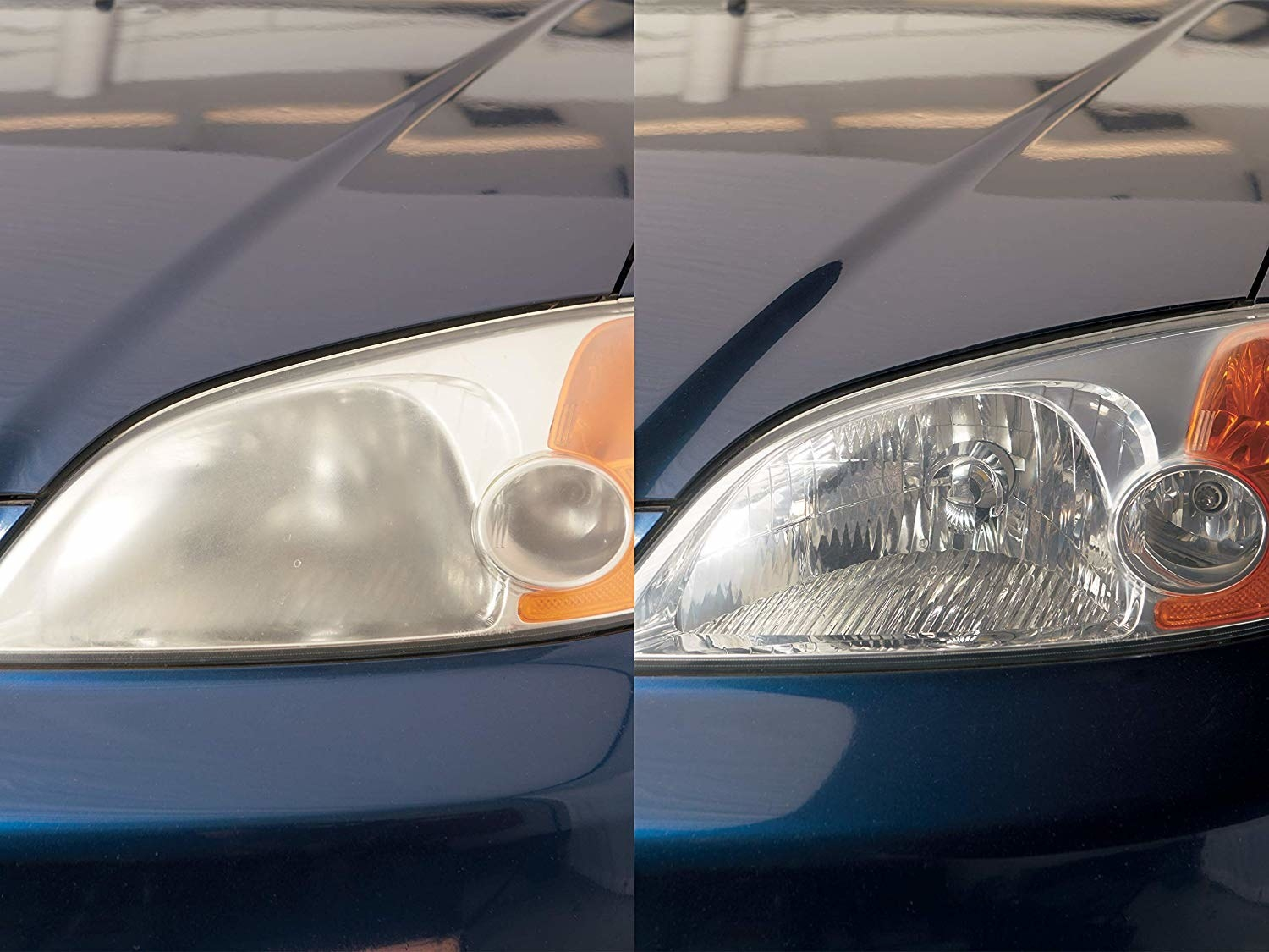 A before and after photo showing the headlights of a car