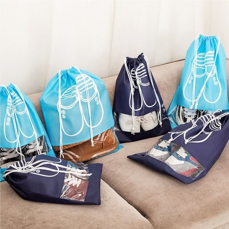 the drawstring bags with a clear window so you can see which shoes are inside