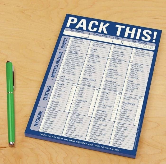 the packing checklist
