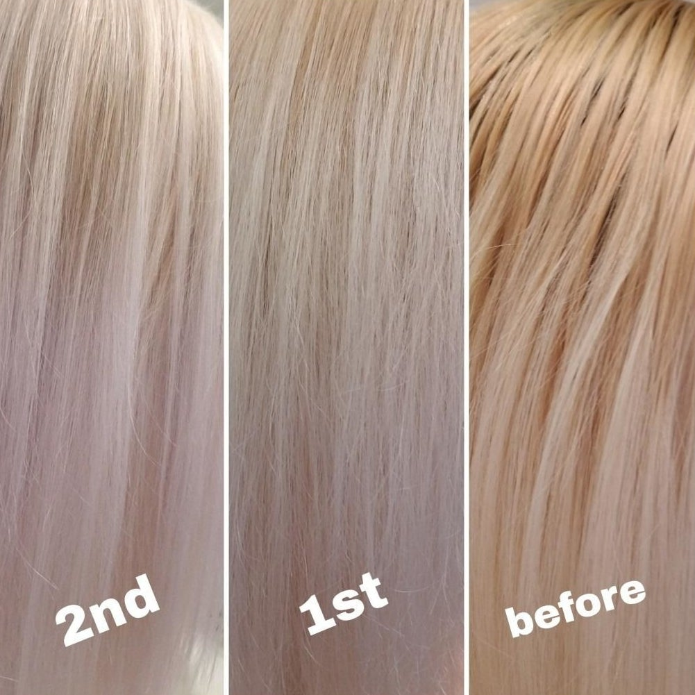 Reviewer photo showing the change in hair after using the shampoo two times