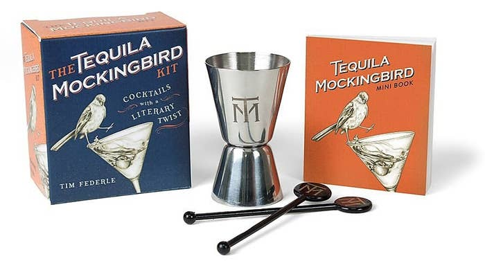 The Tequila Mockingbird Kit featuring two cocktail stirrers, a bartender's jigger and mini booklet
