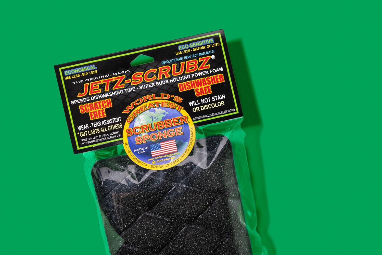 black quilted sponge in packaging