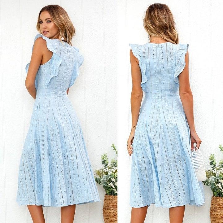 Model wearing the dress in blue