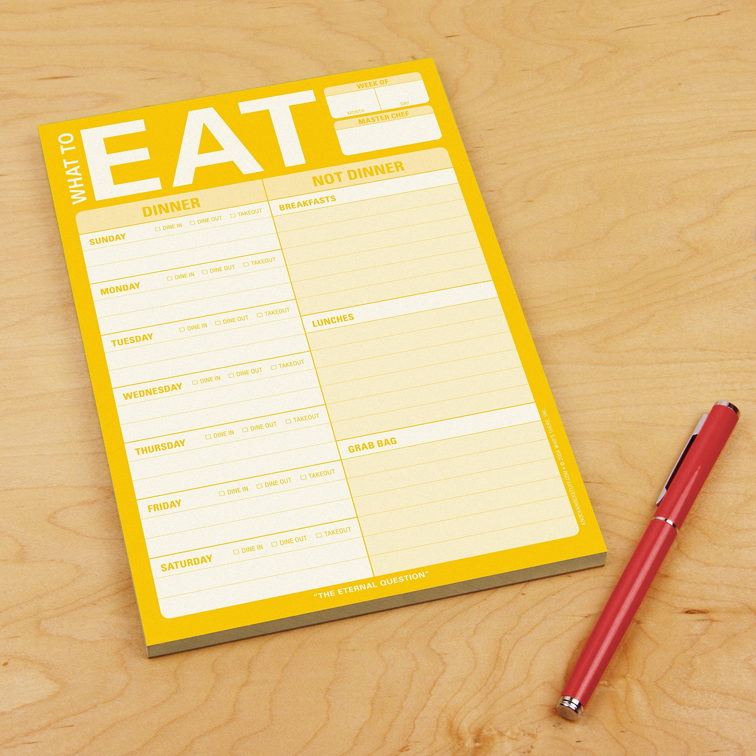 "A blank ""What to Eat"" notepad with spaces for each day of the week"