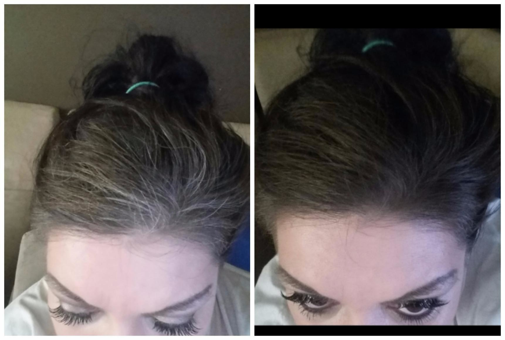 A reviewer with grey strands at their forehead on the left, and on the right with all the greys covered and matching their brown hair