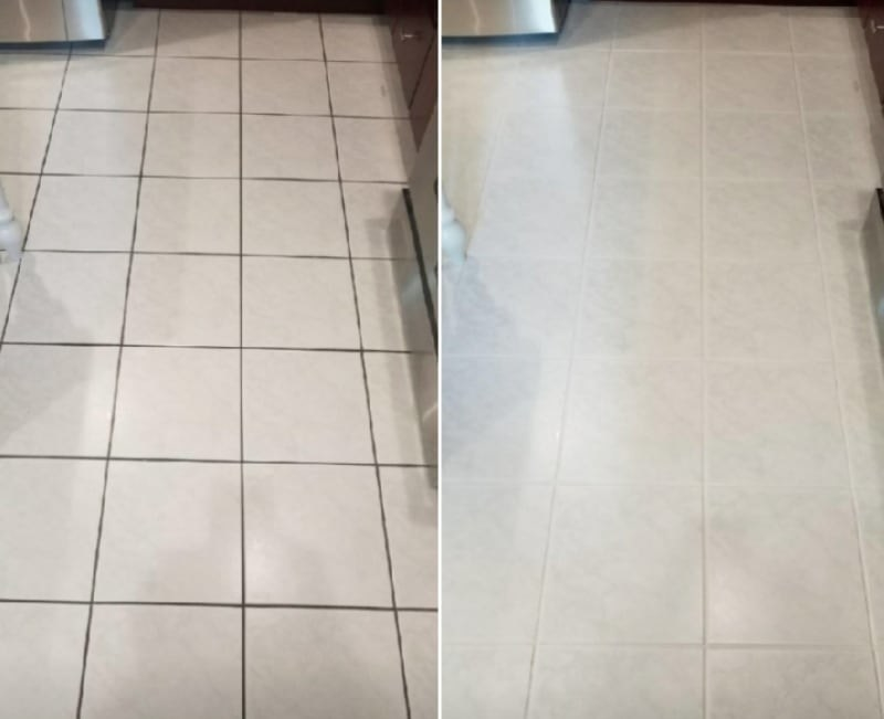 before image of reviewer's floor with dark grout stains and an after image of the grout completely cleaned