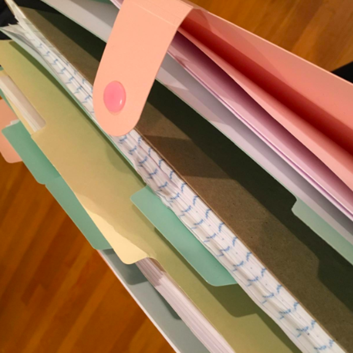 A reviewer's coral folder with mint tabs holding several pieces of paper and a thin notebook