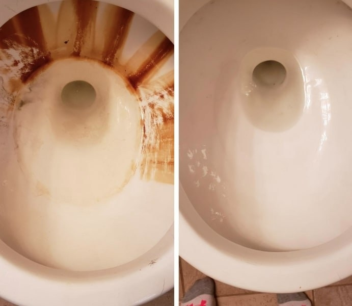 before image of reviewer's toilet with bad stains and after photo showing the stains gone after using pumice stone