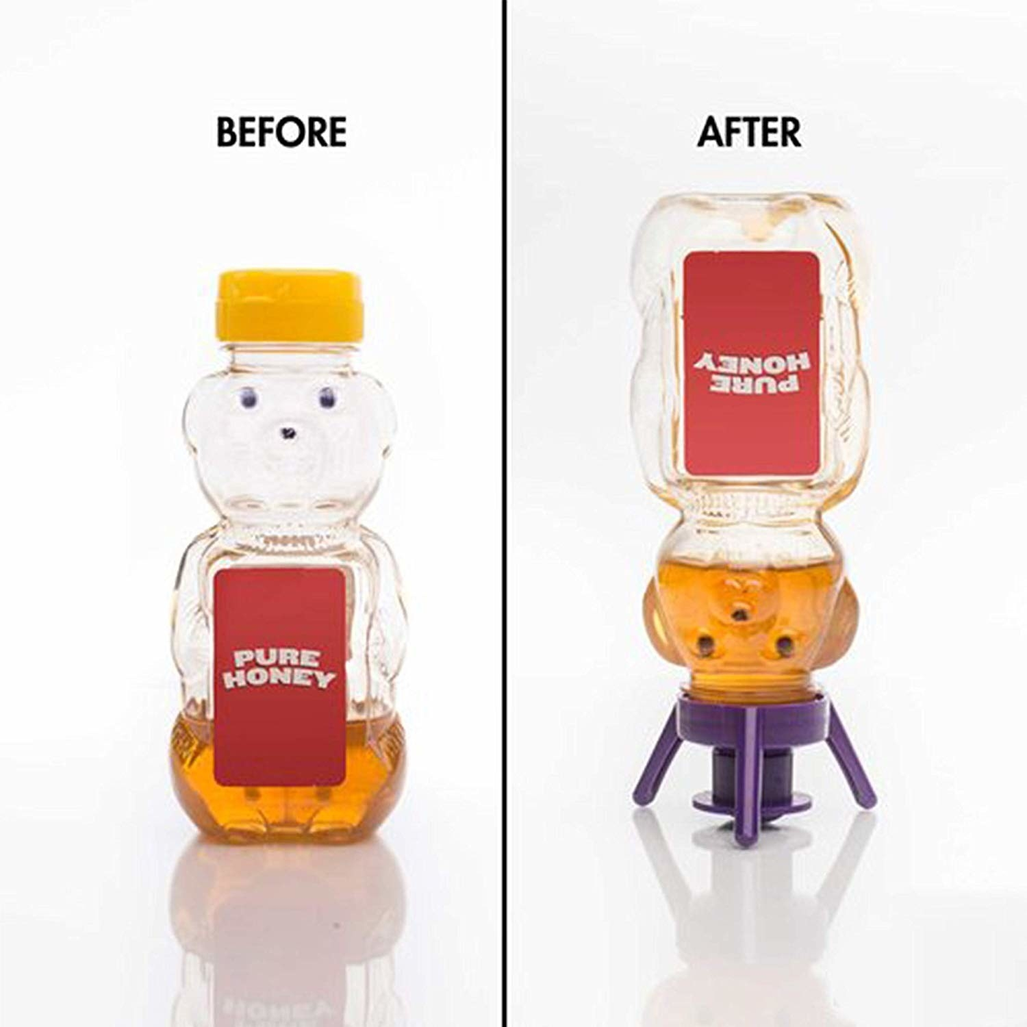 A bottle of honey with leftovers at the bottom and the honey bottle standing upside down on the four-legged flip top so the remaining honey is now easier to pour out