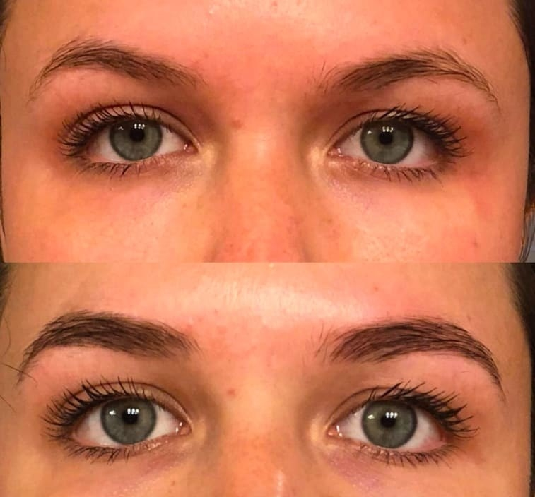 Reviewer's before/after pic showing darker, fuller-looking eyebrows after using the dye
