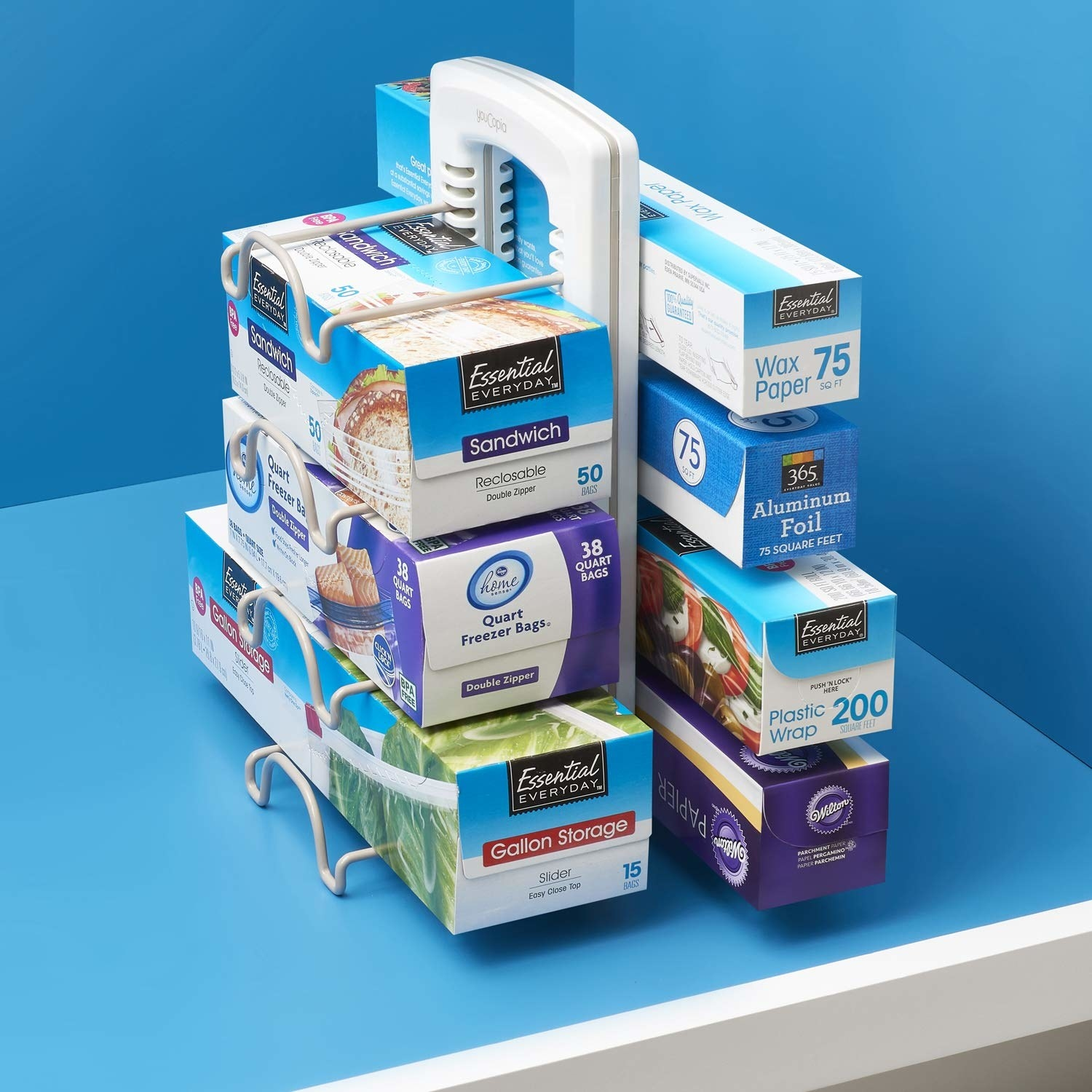 storage caddy with adjustable sections for boxes of aluminum foil and cling wrap