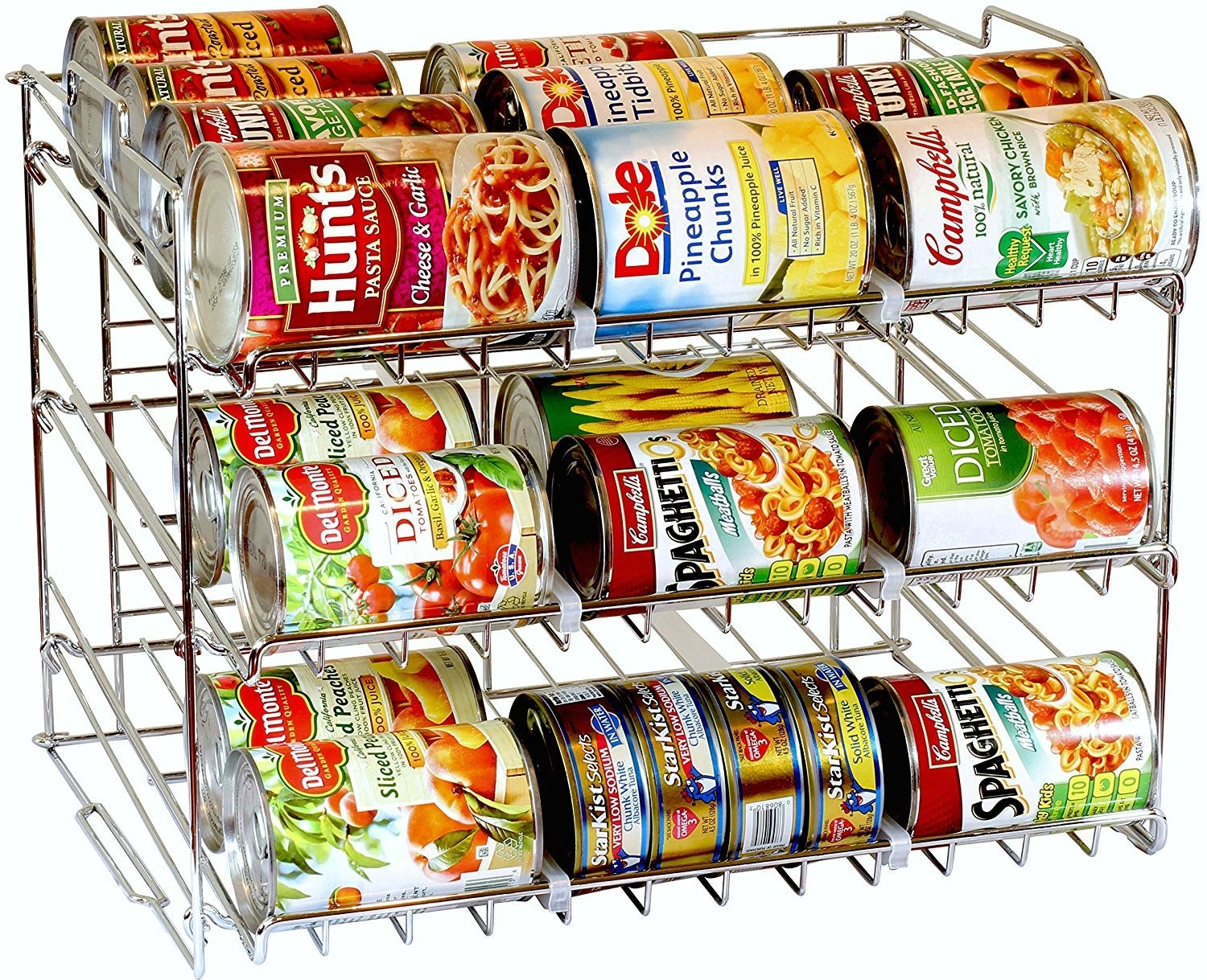 stainless steel open shelf with cans on it