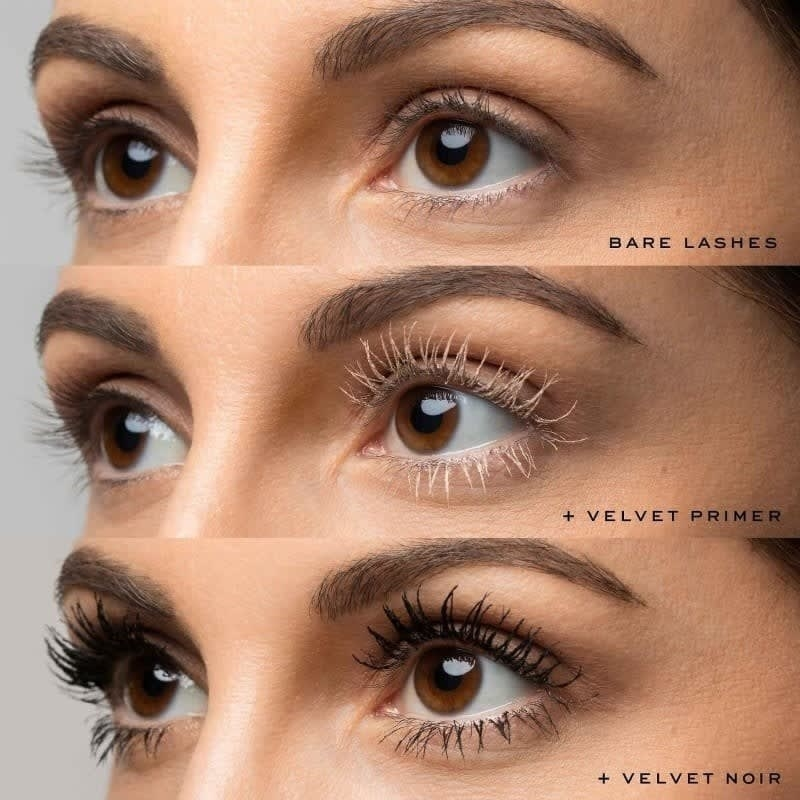 Marc Jacob's Velvet lash primer on model showing a noticeable difference in length after applied
