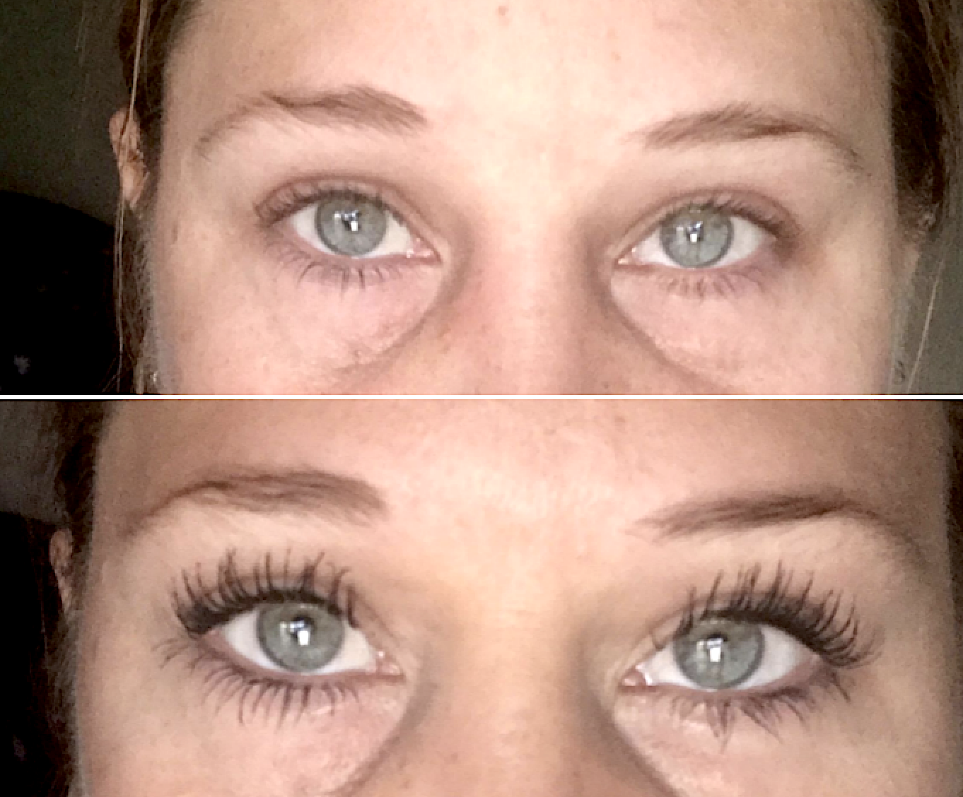 Reviewer's before/after pic using the mascara. The after pic shows longer, fuller-looking lashes.