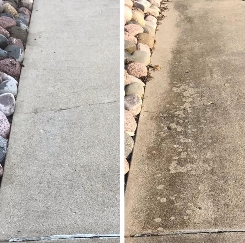 Before/after pic of a reviewer's driveway. The after pic show significantly less grease stains on the concrete.