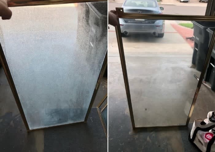 Before/after image of a reviewer's shower door showing all of the hard water stains removed