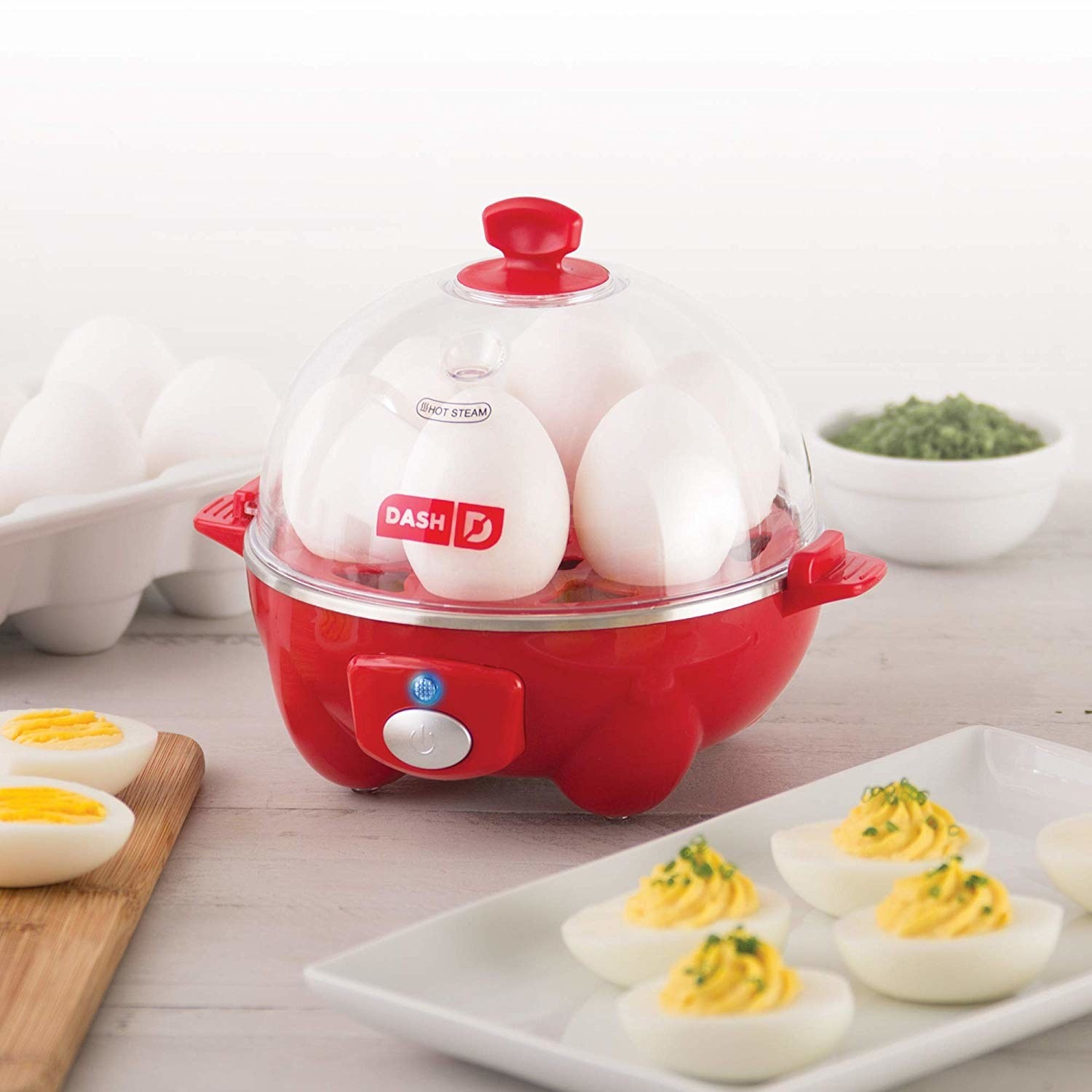 the egg cooker with six eggs inside