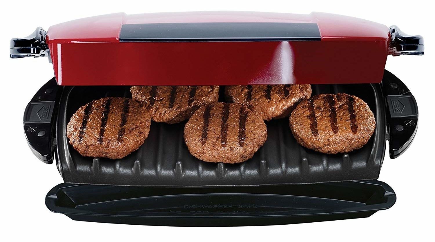 open grill with five hamburger patties on it with grill marks
