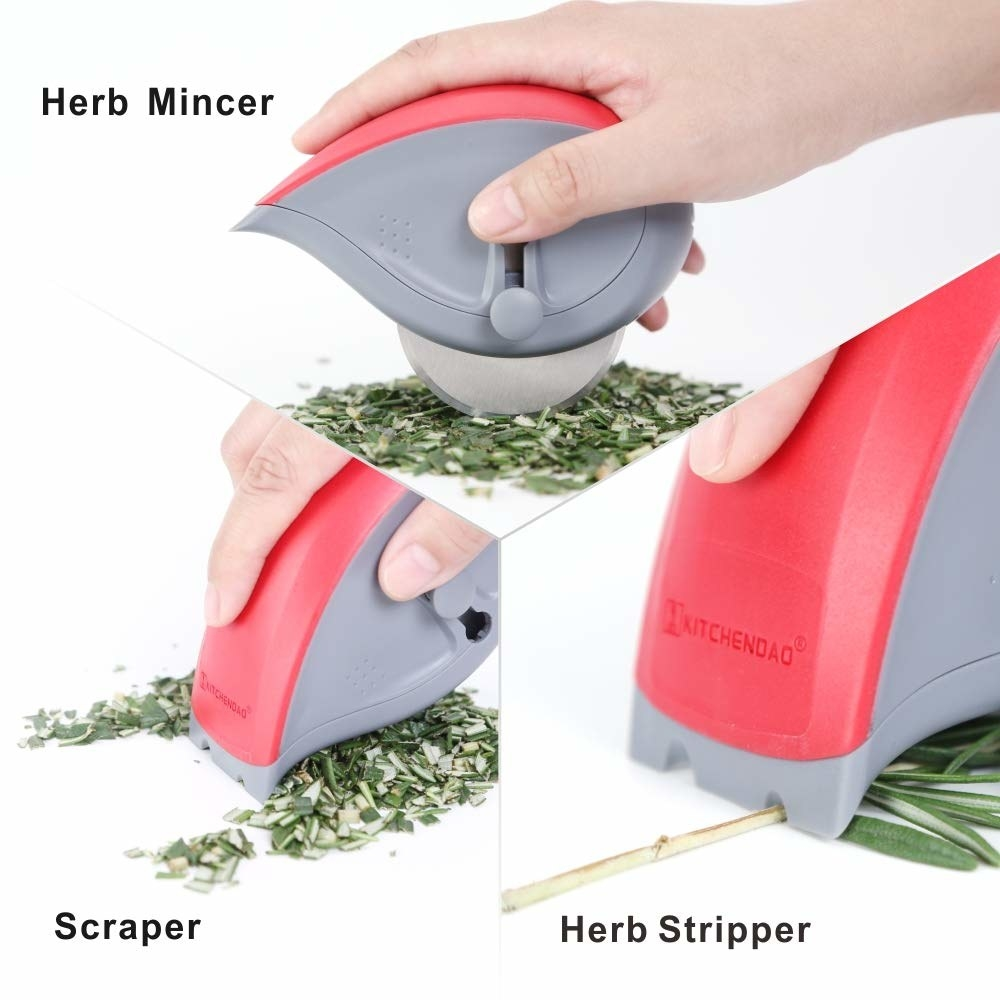 hand using the tool to roll cut, scrape, and strip herbs