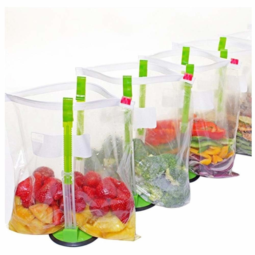 stands with adjustable height sides to hold up ziplock bags