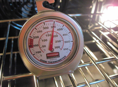 thermometer inside an oven