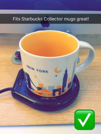 a reviewer photo of a starbucks mug on the warmer