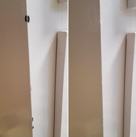 Before image of a white wall with black marks, and image of the same wall without the marks after being repaired with the touch-up paint