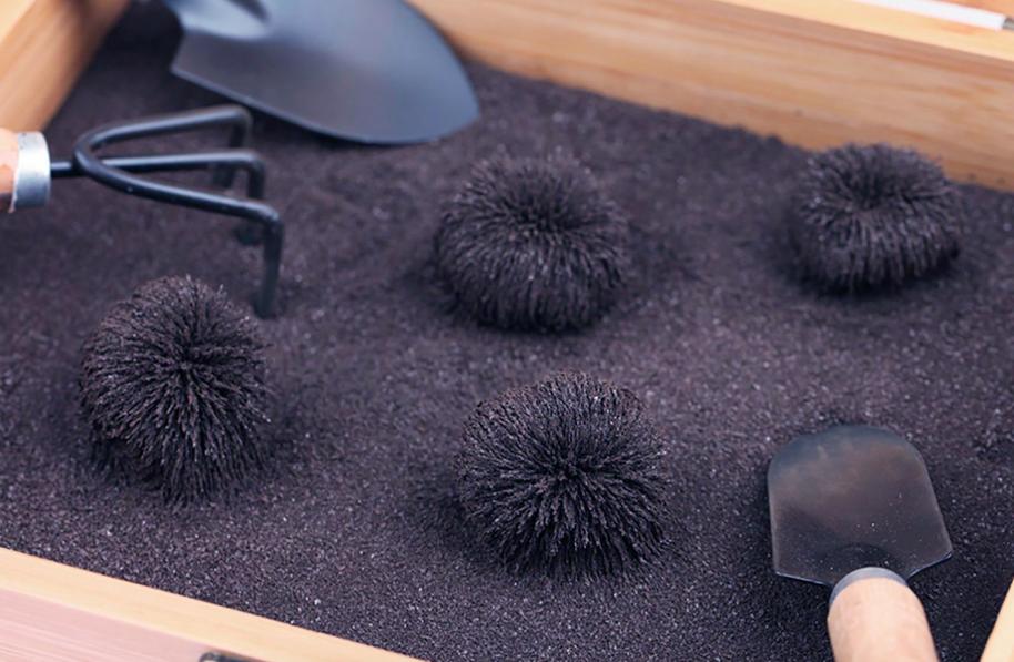 Magnetic balls made inside the garden box
