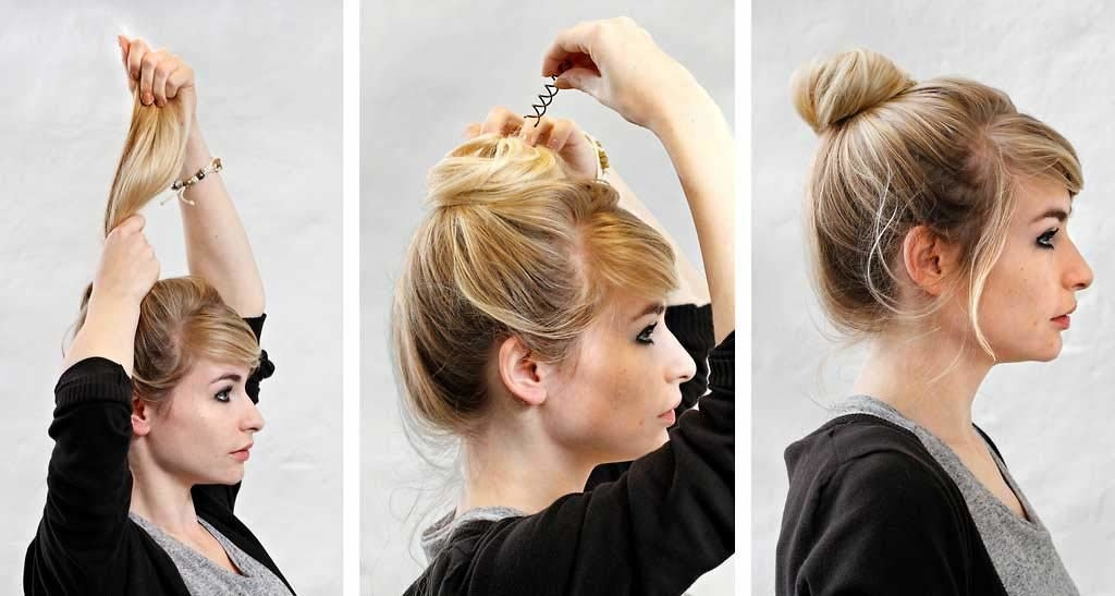 first image shows a model pulling hair up into a pony, second is the same model with the pony twisted down into a bun and pushing the spin pin in to hold it in place, and third photo is the model with a slightly messy ballerina bun and tendrils