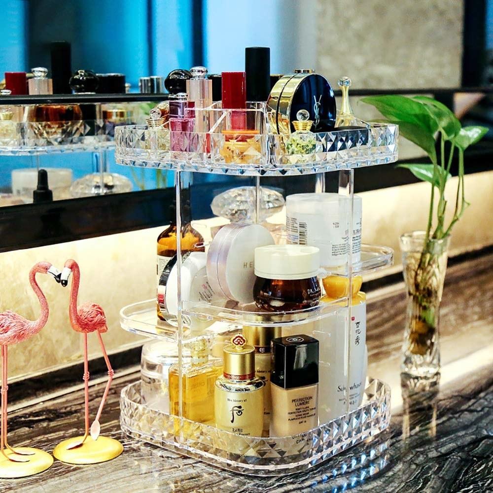 bathroom vanity countertop with a spinning three-tier makeup organizer