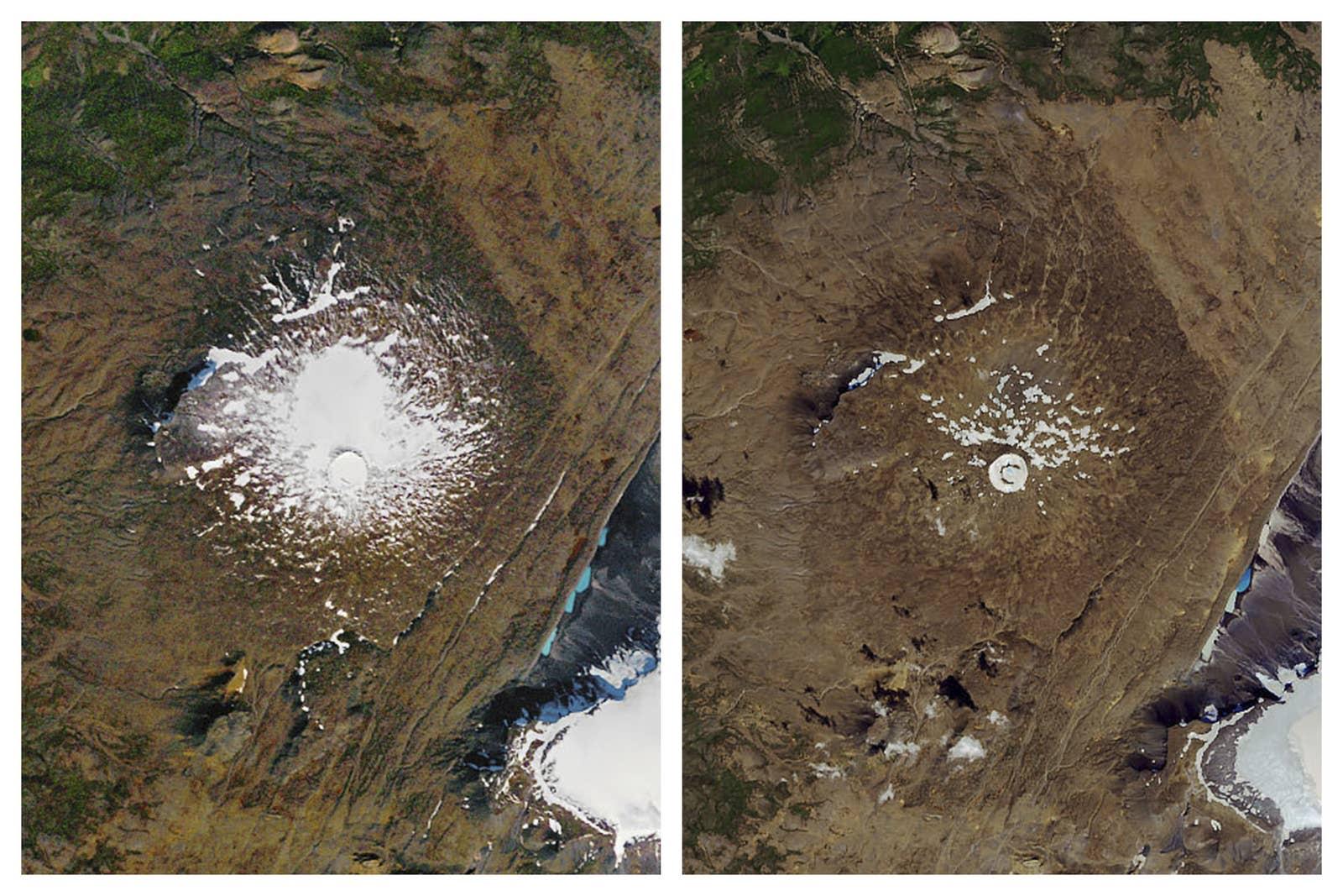 Rust zacht Okjökull gletsjer