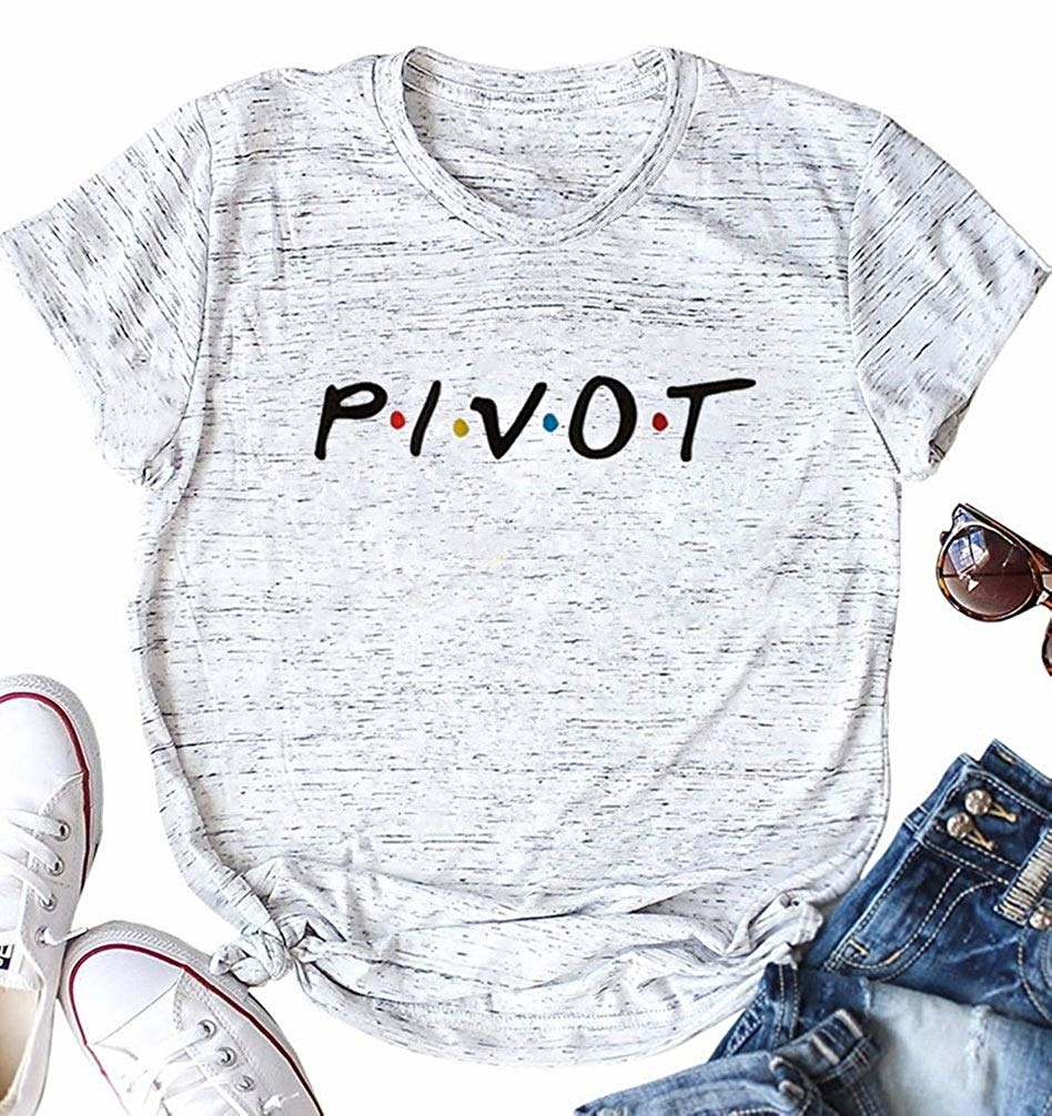 The crew neck T-shirt with the word P*I*V*O*T written in the Friends font across the front.