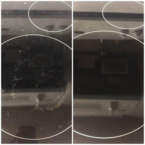 Reviewer's before-and-after picture of scratched stovetop and then new-looking stovetop