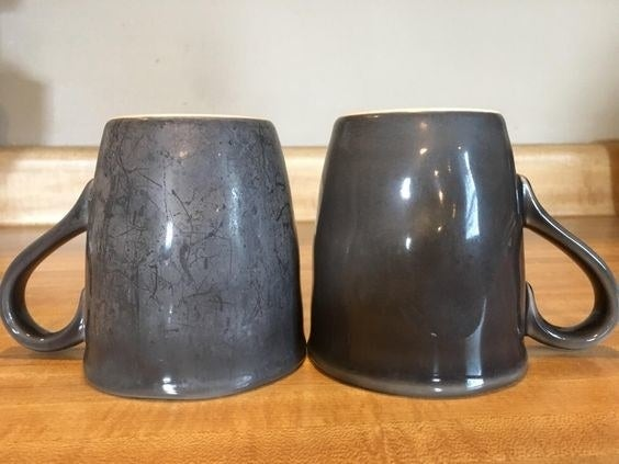 before and after cleaning mugs with booster powder