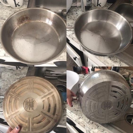 Reviewer's picture of steel pan with burnt-on grease and rust getting fully cleaned