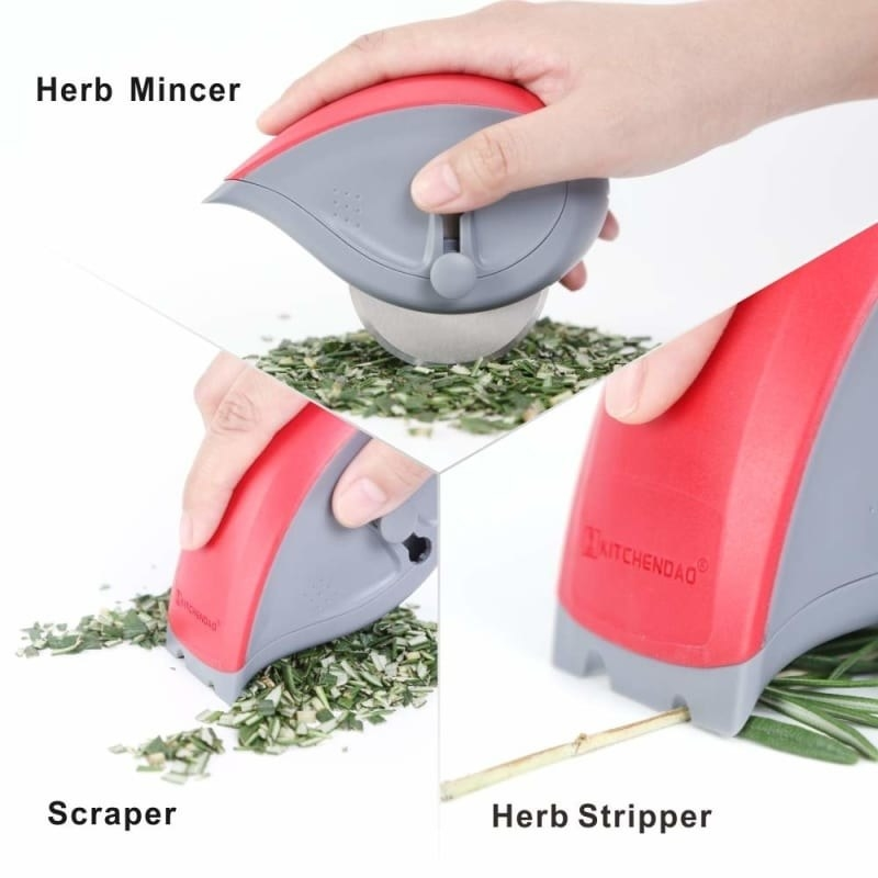 the red and grey tool showing how it can mince, scrape, and strip herbs