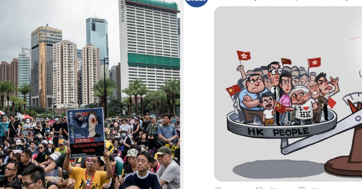 "These Ads Calling Hong Kong Protesters ""Violent"" Are Coming Straight From China"