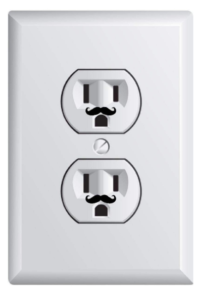 Tiny little mustache shaped stickers on an outlet