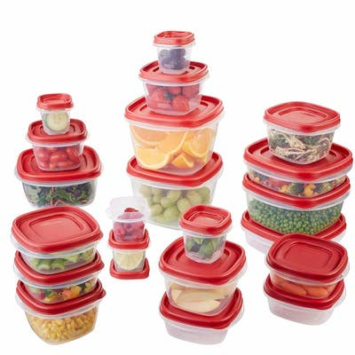 The red and clear containers in different sizes