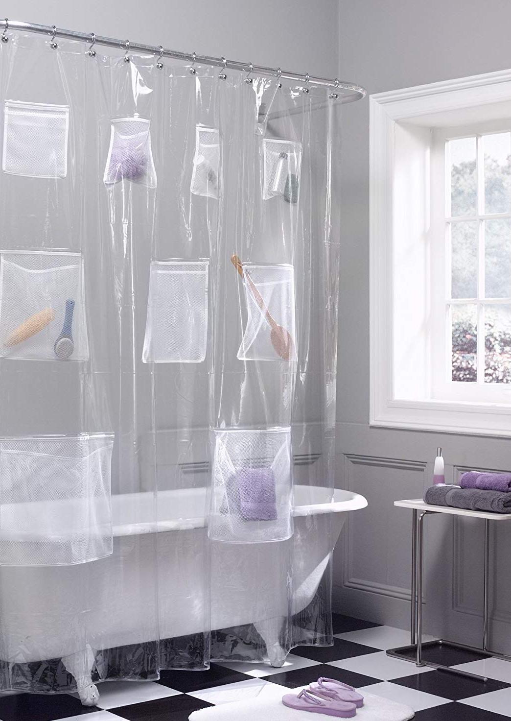 淋浴窗帘衬垫带有毛巾和刷子的口袋