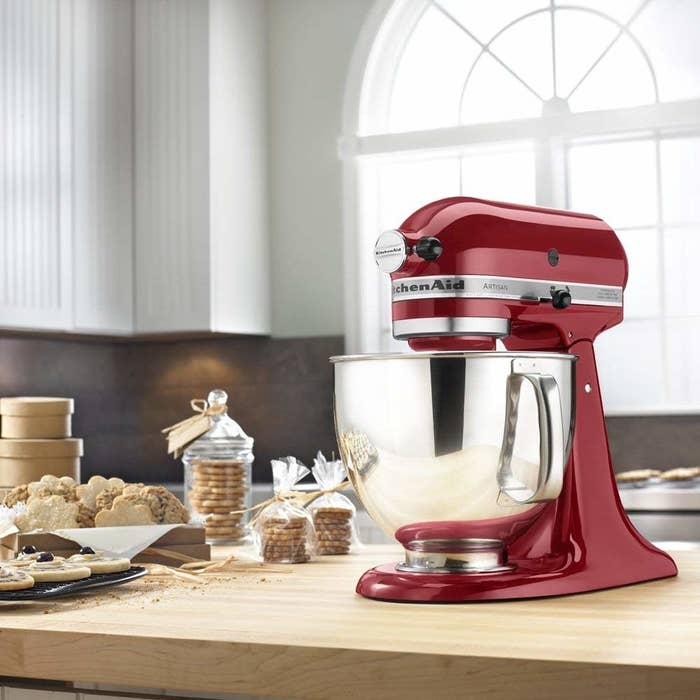 The stand mixer in a candy apple red