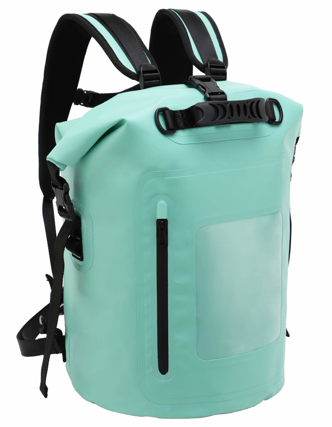 teal backpack with roll-up top and front clear window pocket