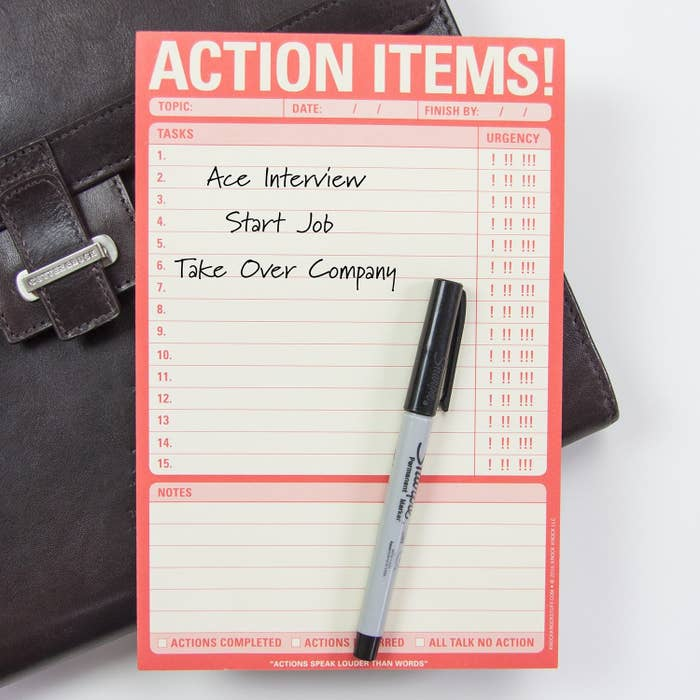 """paper reading """"action items"""" with spaces to write tasks, their urgency, and notes"""