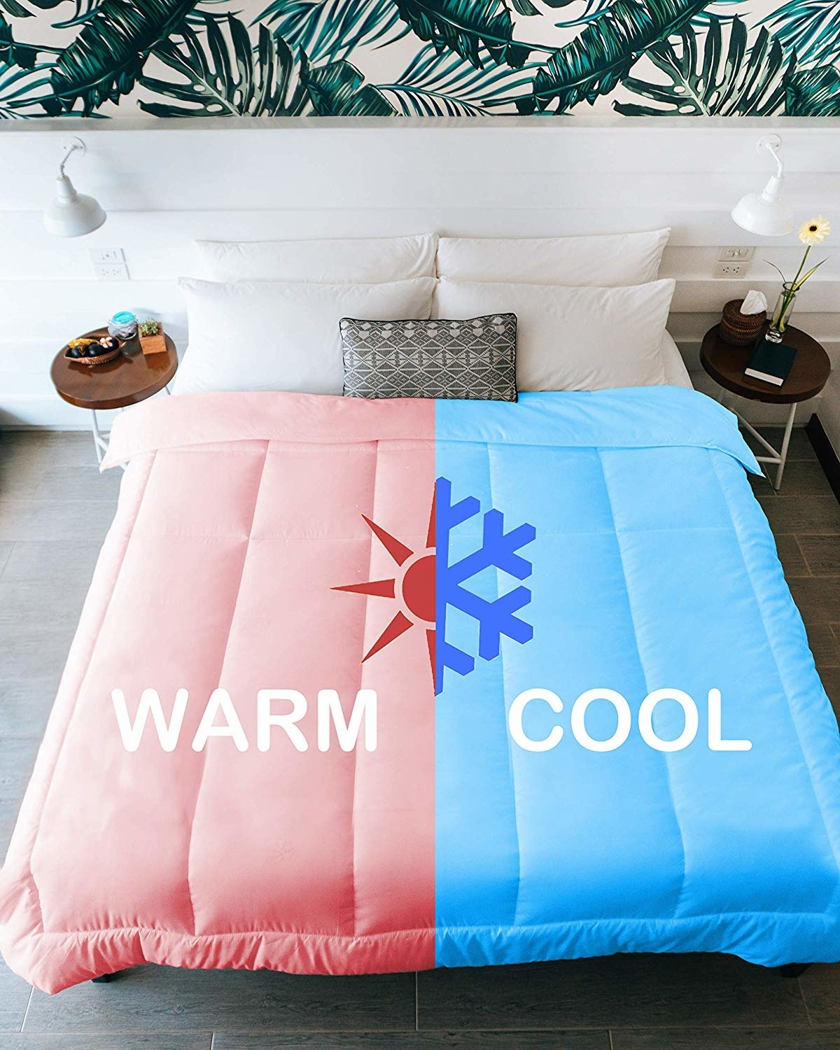 a graphic of a comforter to show how one side is warm and the other is cooler