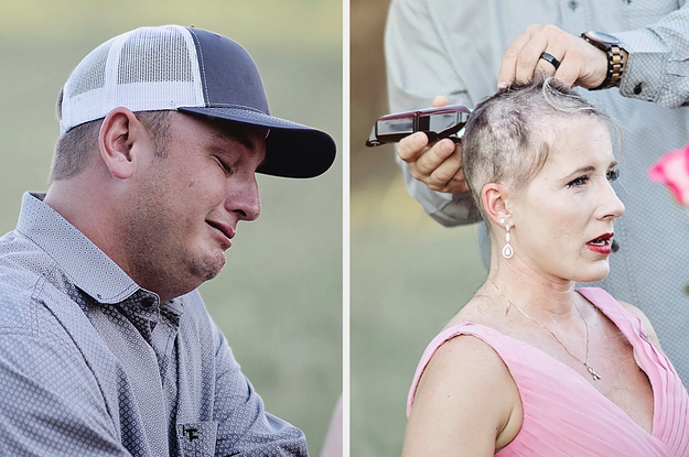 This Viral Photoshoot Of A Woman's Husband Shaving Her Head As She Prepares To Fight Cancer Is Powerful In So Many Ways