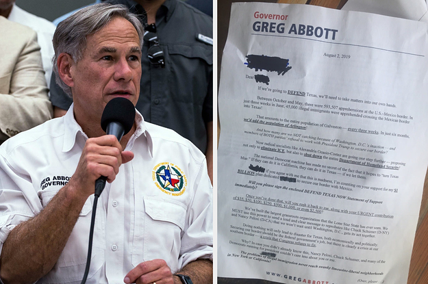 """The Texas Governor Called On Supporters To """"Defend"""" Against Immigrants The Day Before The El Paso Massacre"""