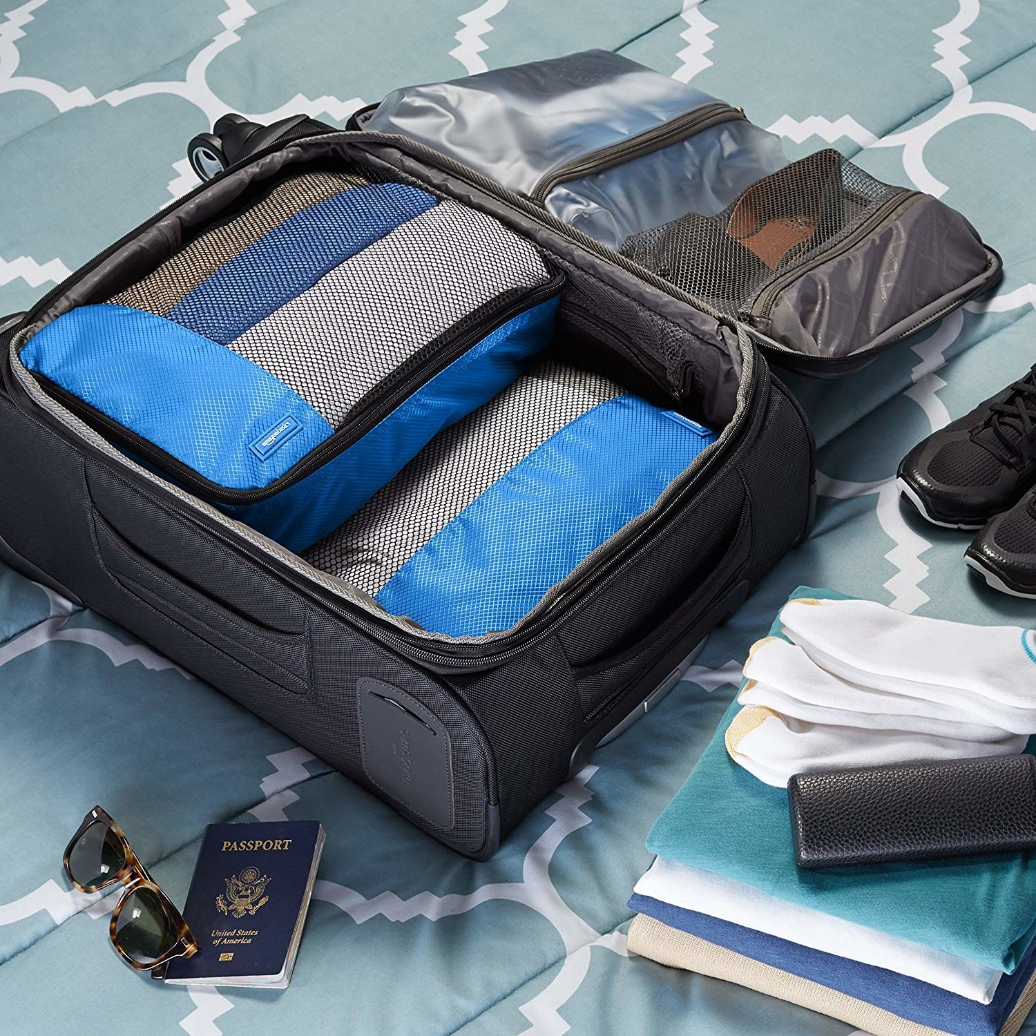packing cubes inside of a suitcase