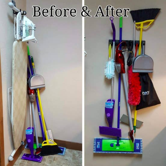 a before shot of a cluttered broom corner and after shot of brooms and mops hanging from the tool holder