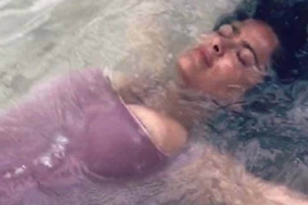 Salma Hayek Posted 9 Really Weird Pictures Of Her Being Run Over By Waves