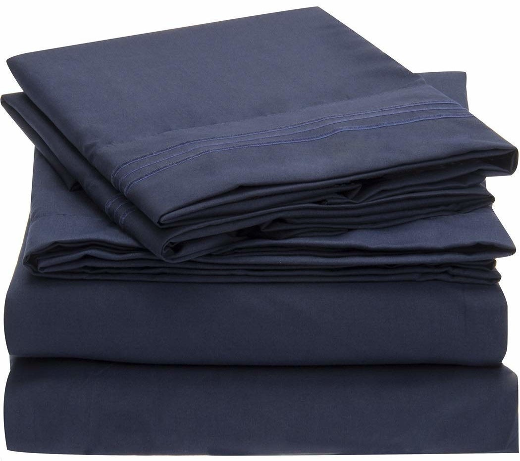 the sheets in navy blue